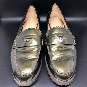 Coach Peyton Green Leather Penny Loafers 8.5